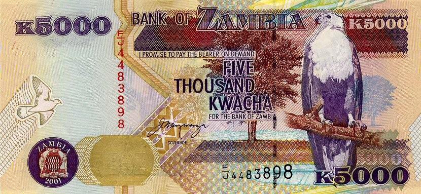 A bill of Zambian Kwacha for 5000