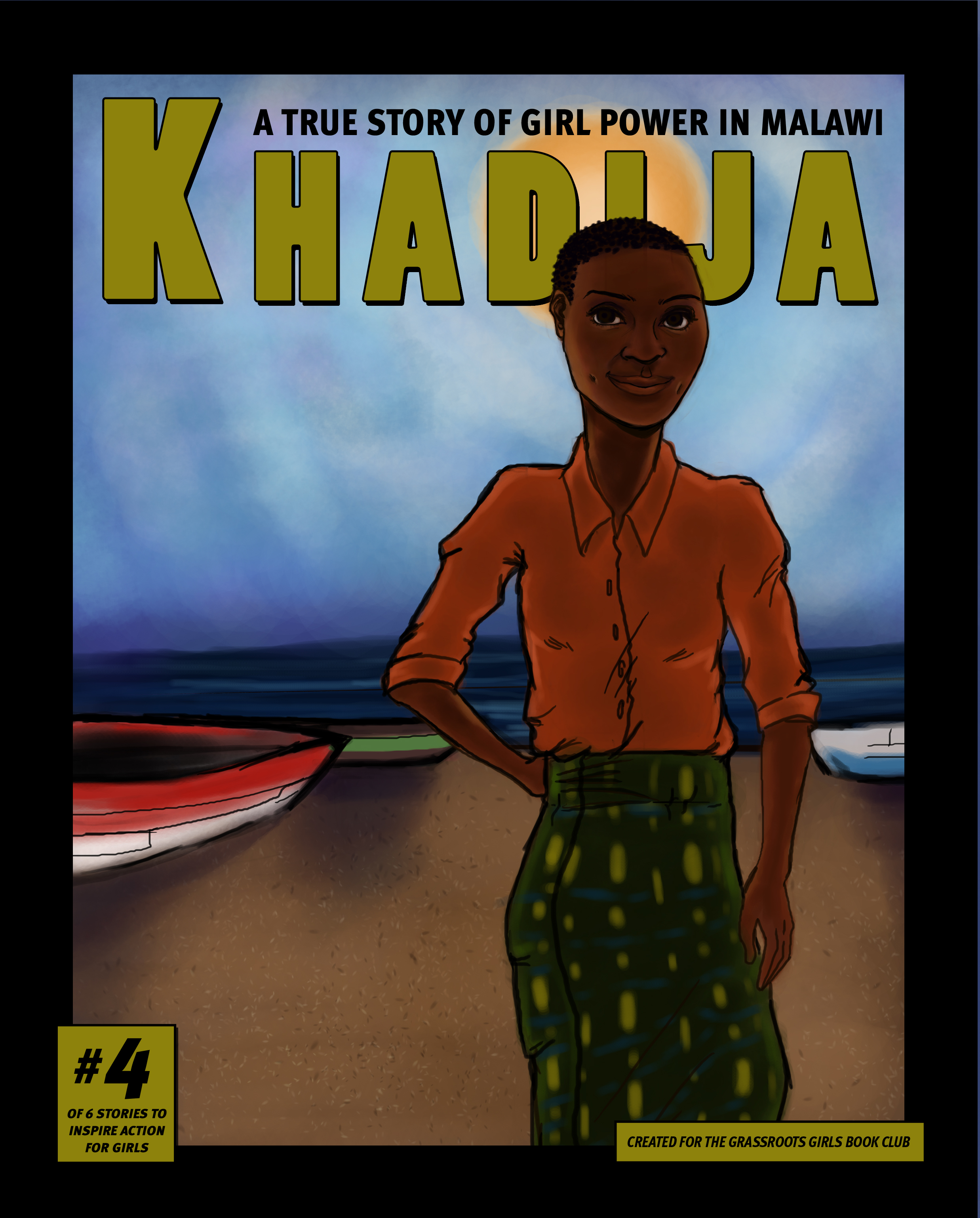 a graphic novel cover of an African girl going places