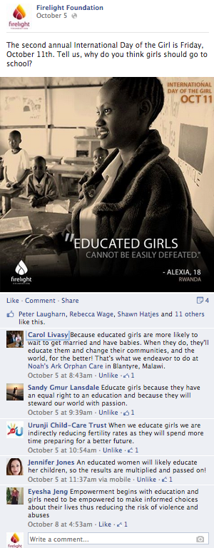A screenshot from Firelight's Facebook page with comments about why girls should go to school