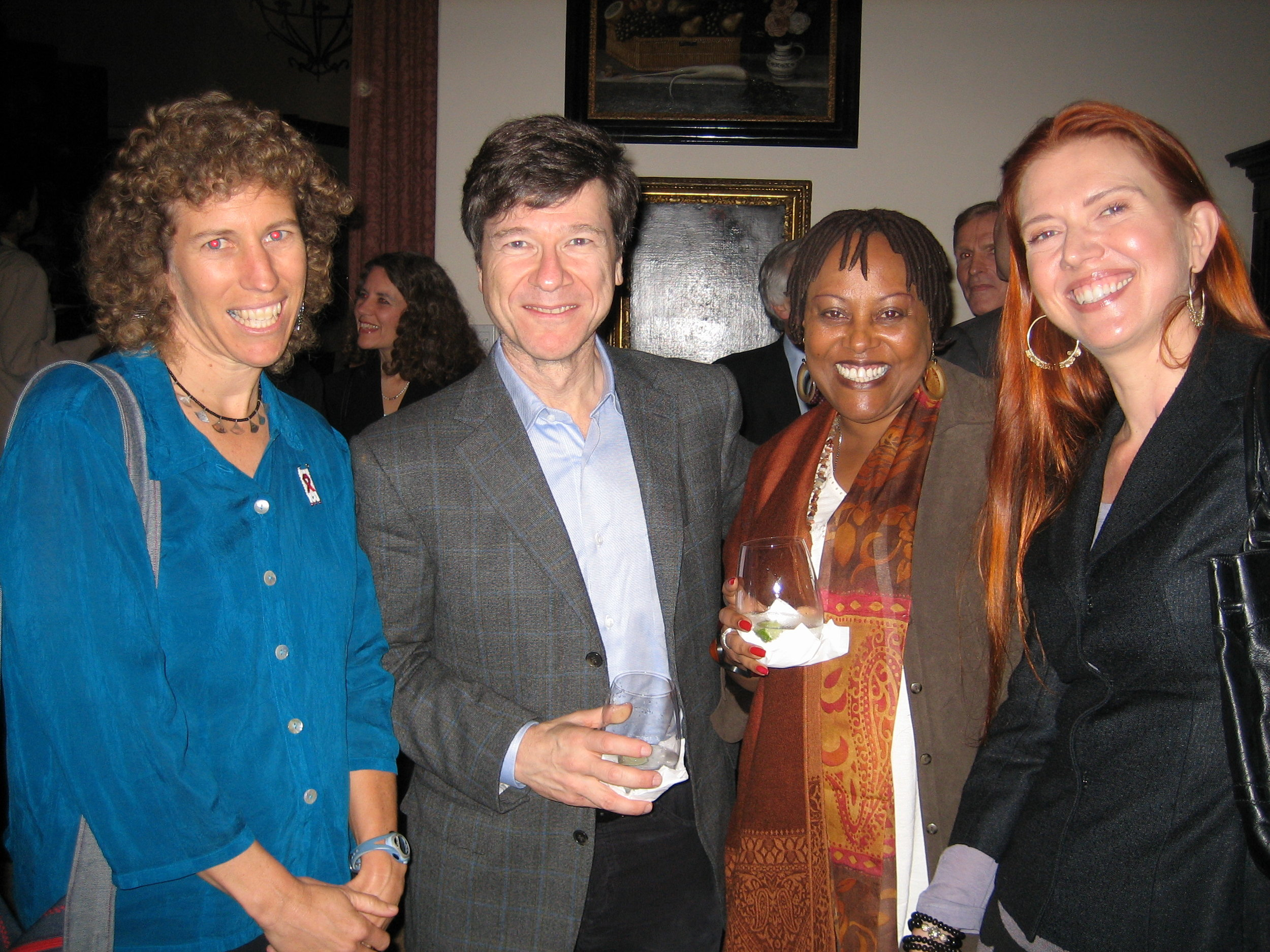 Jeffrey Sachs and Mary Balikungeri with Firelight Director Jen Astone (far left) and Founder Kerry Olson (far right)