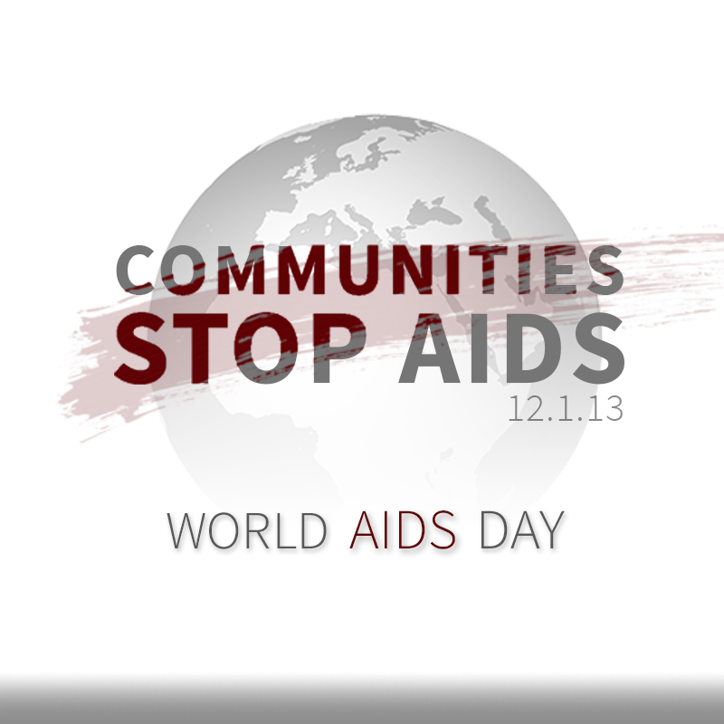 A graphic that says communities stop AIDS