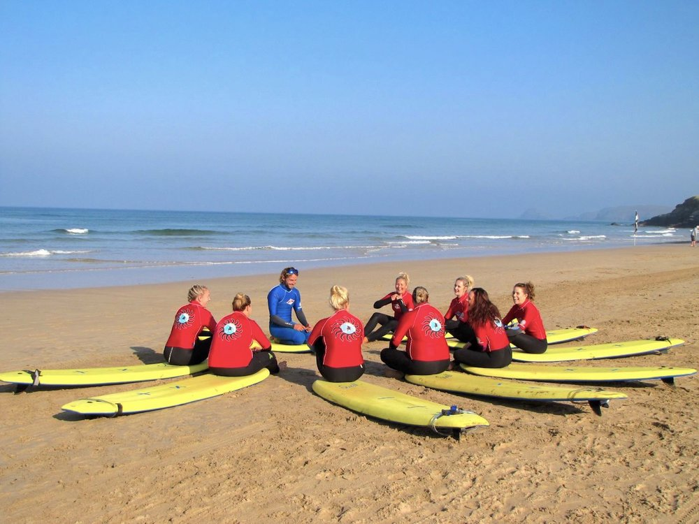 Ready to surf on a crisp autumn day in Cornwall!