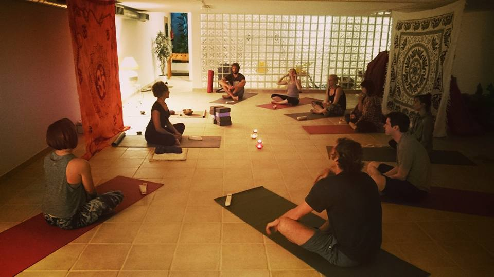 Group of friends on a luxury retreat about to start a post surf yin yoga session with our fantastic instructor Maria…