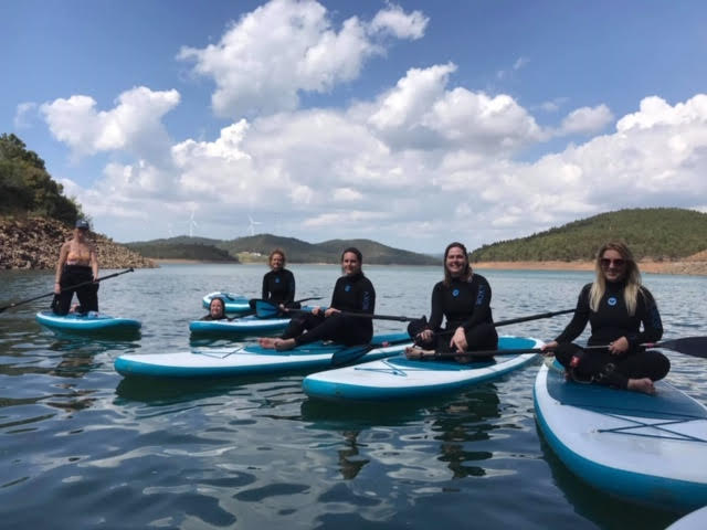 Our wonderful guests taking a break to admire the scenery and have a swim on the SUP tour….