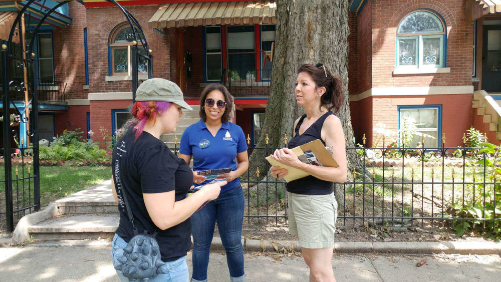 Betsy and LaKeisha Purchase out talking with voters