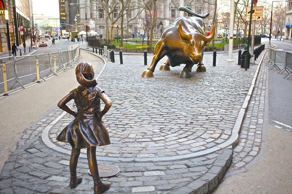 Fearless Girl facing down the bull