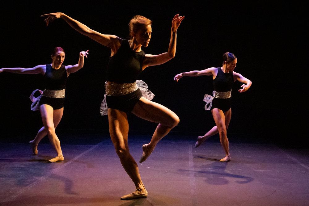 A moment from  Chaconne , a ballet choreographed by  AJ Garcia-Rameau.   Photography by   Lynn Lane   .  Pictured,  Rachel Cox Culver, Dorothy O'Shea Overbey, AJ Garcia-Rameau.