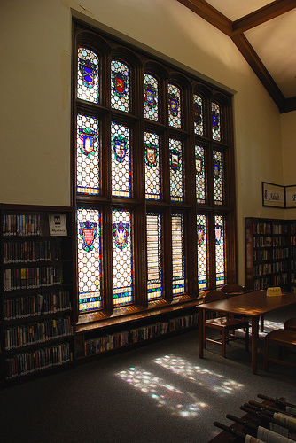 Stained glass windows of Los Angeles Memorial Library