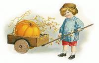 Vintage Girl with Pumpkin