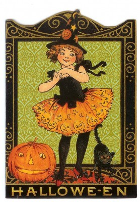 Halloween card with little Girl