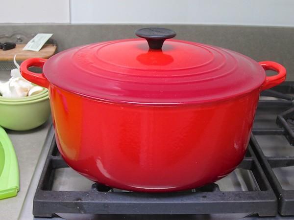 Large red soup Pot