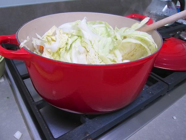 adding cabbage