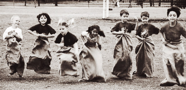 Old potato sack race
