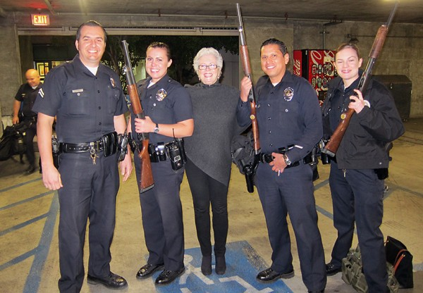 Sandy with LAPD police officers
