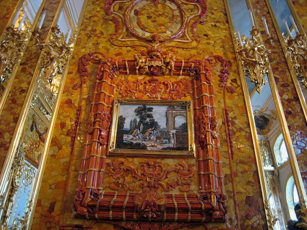 Amber Room in Catherine's Palace at Tsarskoe Selo