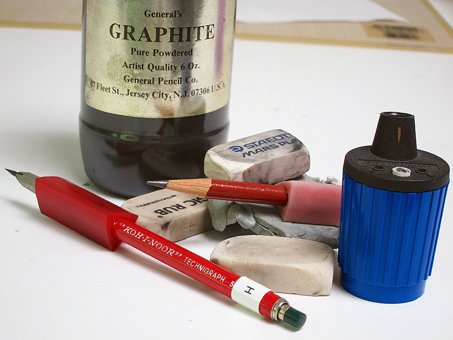 Pencils, erasers, pencil sharpener and graphite