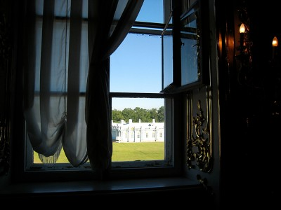 window of cloakroom at Catherine's Palace