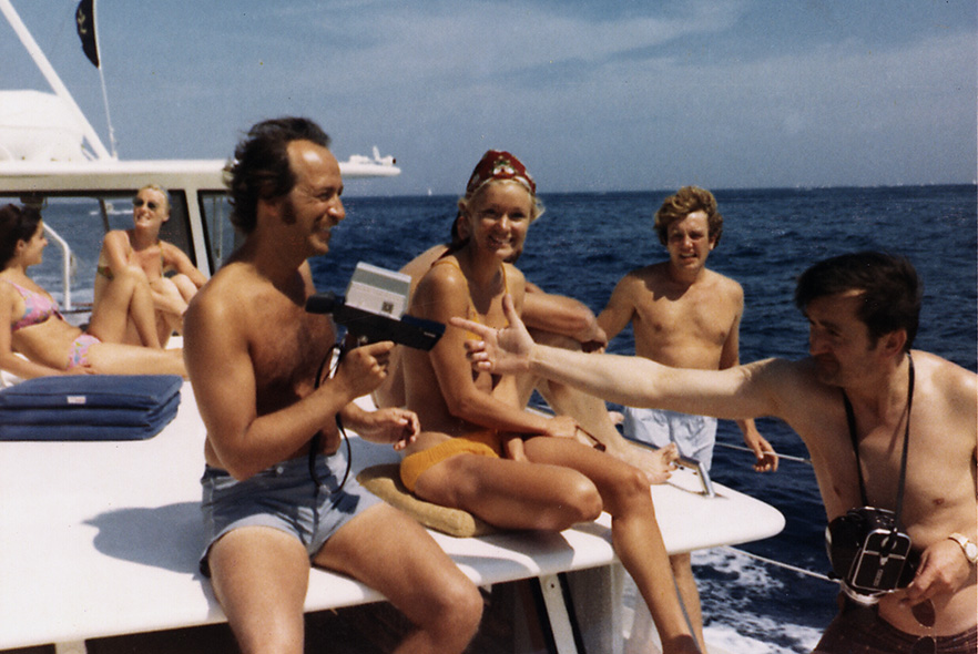 Robert Sallin, Yvette Mimieux, Albert Finney and Graham Stark yachting to St. Tropez, France