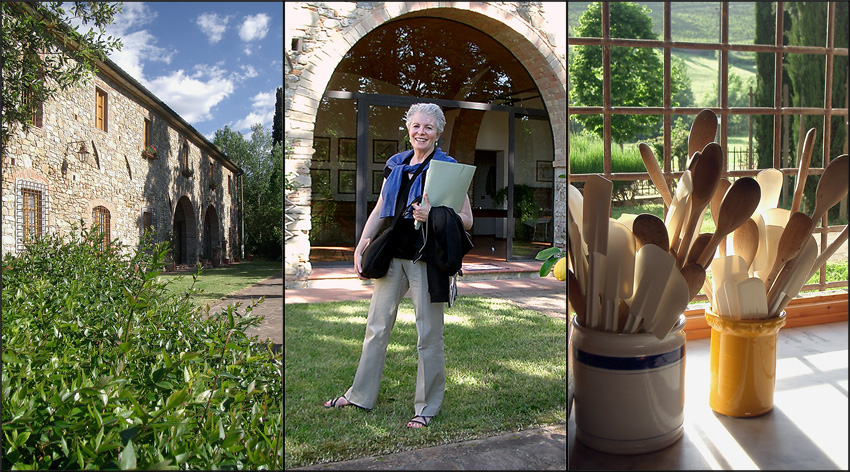 Villa in Chianti where Giuliano Bugialli holds his cooking class, Sandra Sallin, wooden spoons in the window