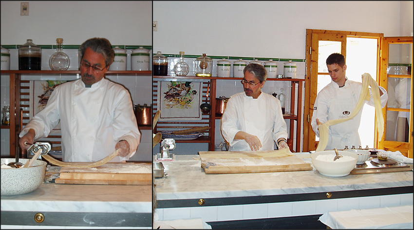 Giuliano Bugialli making perfect pasta in hi Cooking School