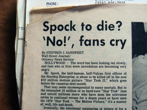 Spock to die? article from the Wall Street Journal