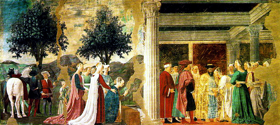 Adoration of the Holy Wood and the meeting of Solomon and the Queen of Sheba by Piero della Francseca