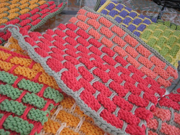 Hand knit dish rags