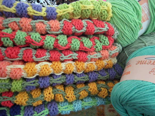 Stack of hand knit dishrags