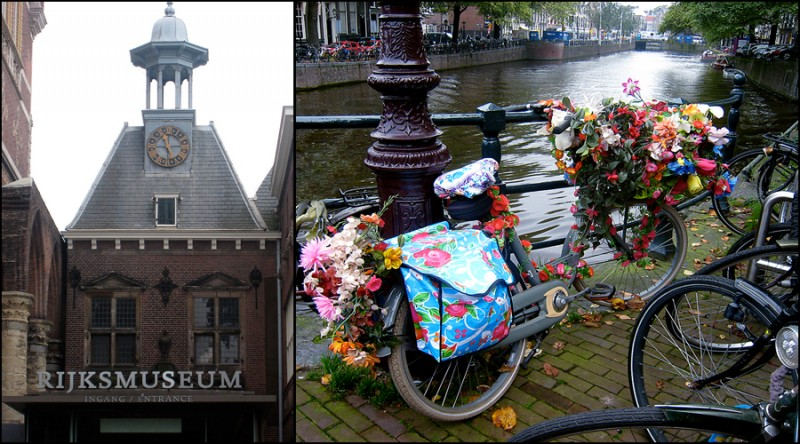The Rijksmuseum and a canal with bicycles in Amsterdam
