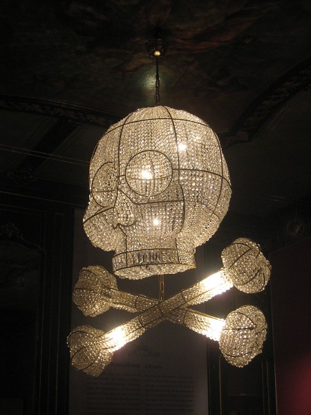 Skull and Crossbones Chandeliers made by the Rotterdam artist Hans van Bentem. The artist designed these especially for the museum, with some references to the work of Escher and the Palace.
