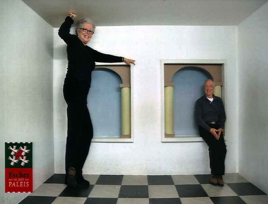 Bob and Sandy at the Escher Museum and photographed using forced perspective