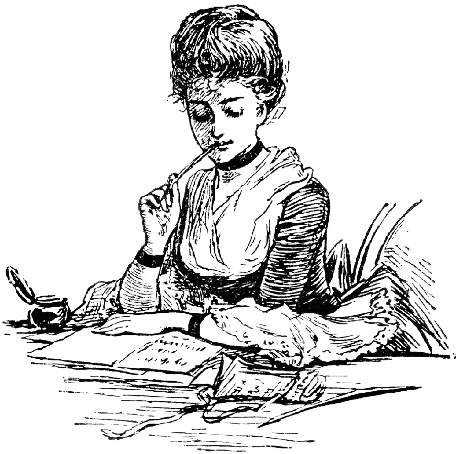 woman writing and musing