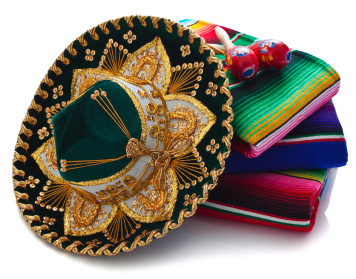 Mexican sombrero, blankets and maracas