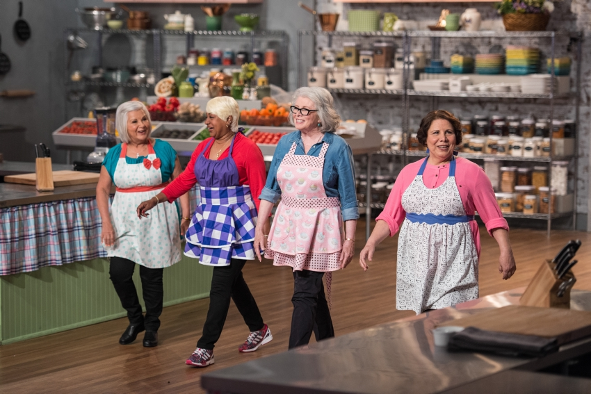 Here we are. Four competitors for Clash of the Grandmas cooking show for the FoodNetwork