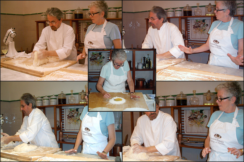 Trying to make pasta with Guiliano Bugialli in Italy.