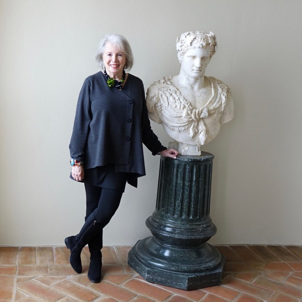 Sandra in front of marble bust