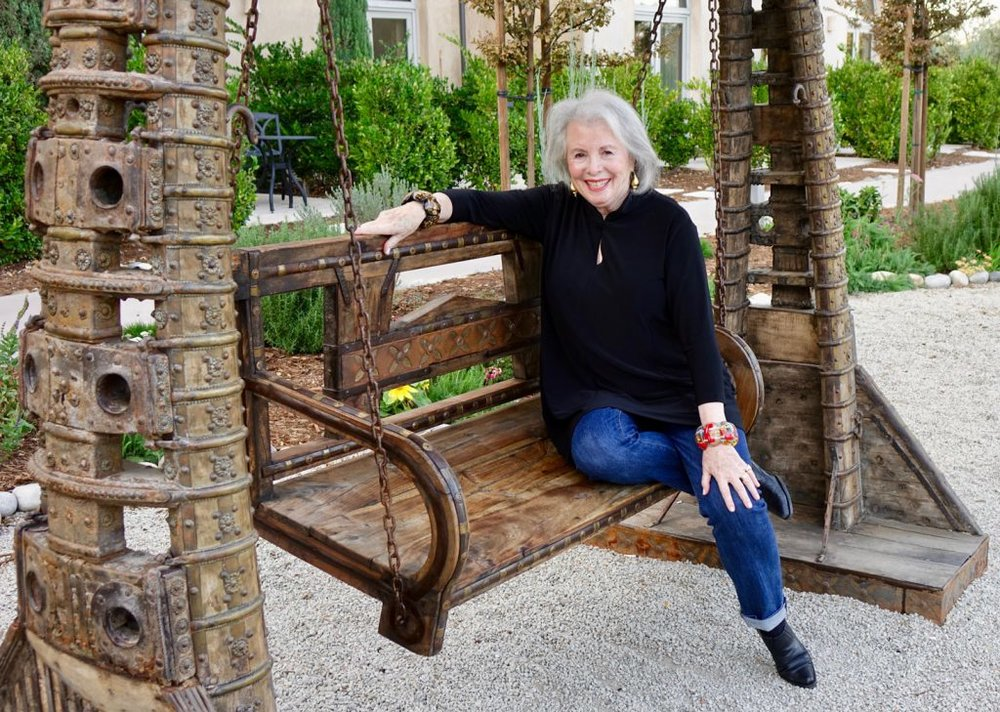Sandra on swing at the Allegretton Hotel in Paso Robles