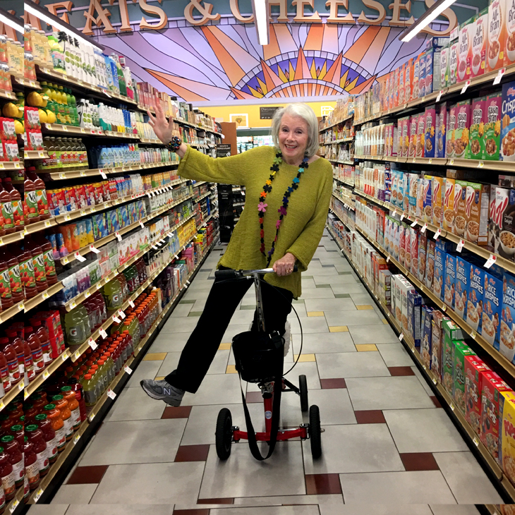 Sandra on her Scooter at Gelson's Market