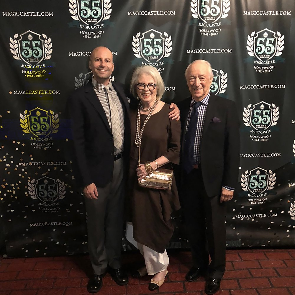 Matthew, Sandra and Bob in front of The Magic Castle