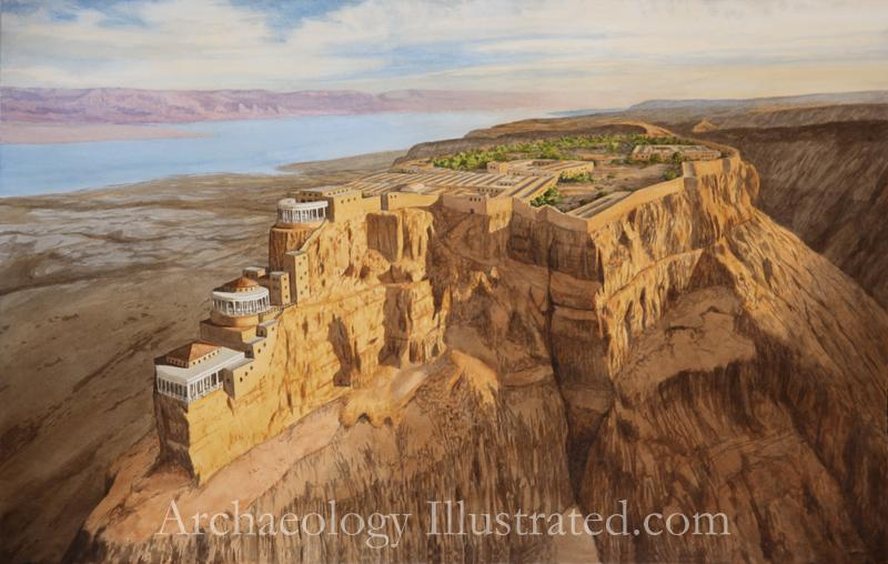 An artist's rendering of how the Masada and Herod's Palace looked between 37 and 31 BCE