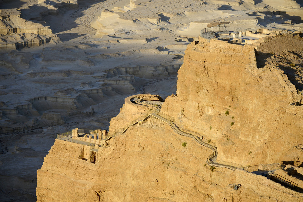 Side view of Herod's Palace clinging to the Masada