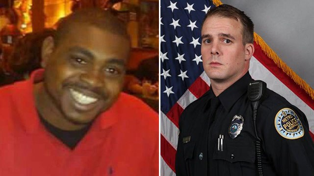 Jocques Clemmons (L) and MNPD Officer Joshua Lippert (R)