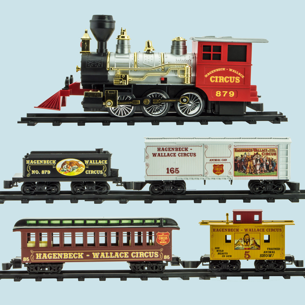 Locomotive, tender, boxcar, passenger car and caboose