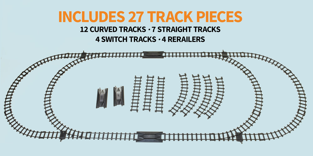 Includes 27 track pieces: 12 curved tracks, 7 straight tracks, 4 switch tracks, 4 rerailers