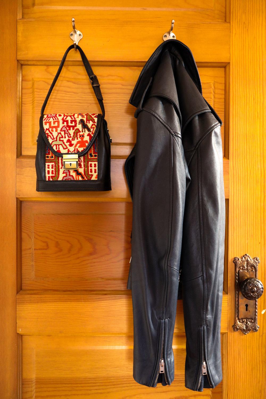 Purse: Lolo Rugs & Gifts, Leather Jacket: IRO.