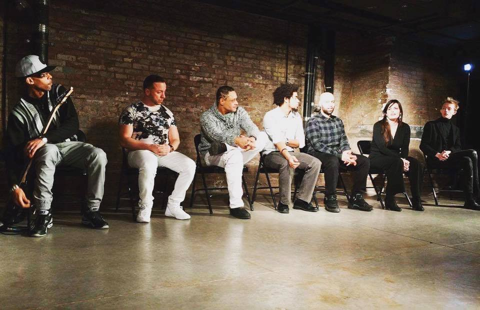 An image from a talkback with (Re)Emergent Theatre (a theatre company for men and women coming home from prison) after their production of  Getting Close  in Harlem, New York.