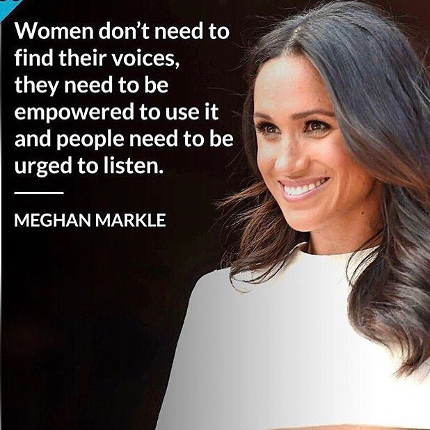 Our #wcw is Meghan Markle.  Empowering women to use their voice.👏🏻✨💕