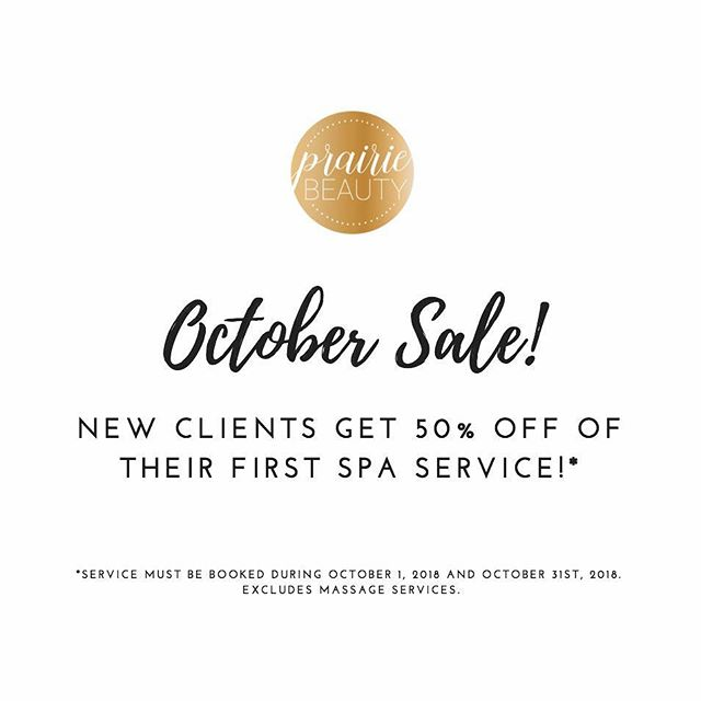 AMAZING SALE!!! NEW CLIENTS GET 50% OFF YOUR FIRST SPA SERVICE!!! CALL US, TEXT US OR BOOK ONLINE!!! :) TAG A FRIEND WHO HAS NEVER BEEN TO PRAIRIE BEAUTY AND FOLLOW OUR PAGE (MUST DO BOTH) AND YOU WILL BE ENTERED TO WIN A $75 GIFT CARD FROM PRAIRIE BEAUTY AND $25 FROM FUEL!!! DRAW WILL BE MADE OCTOBER 31ST!!! ***Get an extra entry for sharing this on your story and tagging us!)***