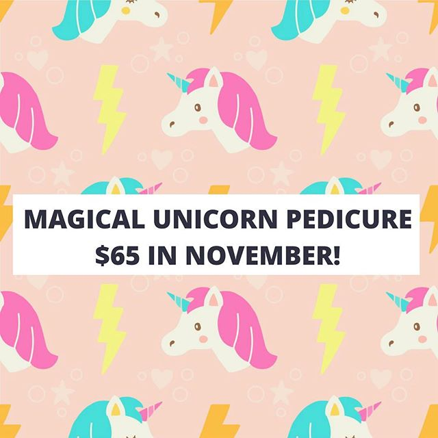 NOVEMBER IS ALMOST HERE! And that means a new pedicure!!!! 🙌🏻 You're not going to want to miss out on this one: MAGICAL UNICORN PEDICURE! 🦄🦄🦄 We use handmade vanilla rainbow scrub on the legs and feet, a shimmery lotion for the hand and arm massage and a glistening body soufflé for your amazing foot and leg massage (also available to purchase for at home!) AND we're even including a FREE warm and hydrating paraffin treatment on the feet! $65 for adults and $25 for 12 and under! Individual, couples and group pedicures also available! SPOTS AREN'T GOING TO LAST LONG WITH THIS ONE! BOOK FOR NOVEMBER NOW! 😍😍😍