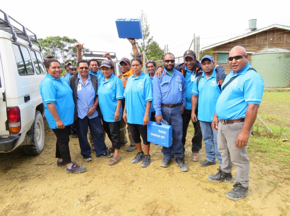 Course participants on arrival at Kaipu Sub Health Centre for their practical with their choice Kit and the two trainers.
